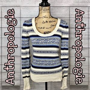 Anthropologie | Scoop Neck Nordic Sweater SZ M